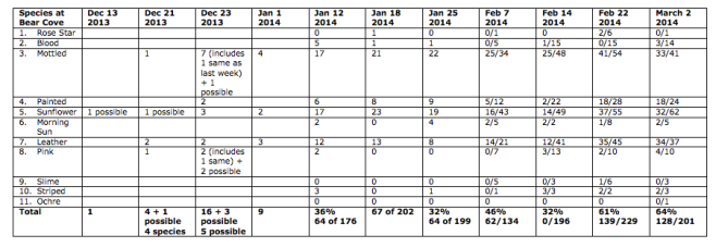 Table showing progression of SSWS at Bear Cove