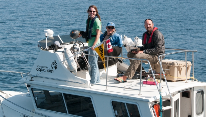 The research team: Dr. Holly Fearnback; Dr. Lance Barrett-Leonard; and Dr.  John Durban. Photo: Hildering.
