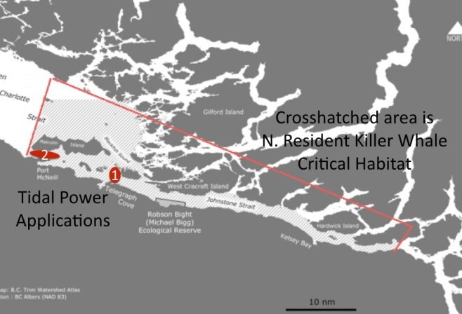 Proposed sites relative to acknowledged northern resident killer whale critical habitat.