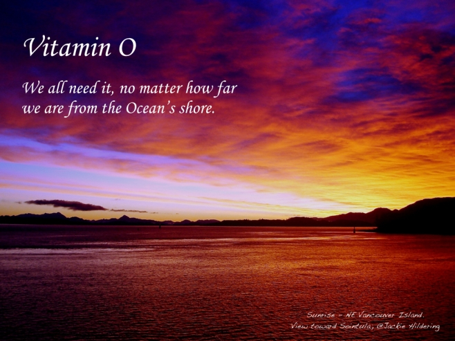 Vitamin O. Where are you as you read this? Are you far from the Ocean's shore or feeling her waves below your feet? It doesn't matter. We are ALL part Ocean from the oxygen in our lungs (50%+); to the fluid in our veins; and many of the nutrients that build us. Our connection to the Ocean is the great common denominator of life on this blue planet. Healing, climate regulating, carbon dioxide buffering . . . life sustaining. Share the Vitamin, especially to our friends further inland? Increased awareness of the importance of the Ocean and celebrating our connection to it . . . why, it could change the world. Acknowledging how little we know, inspired by the mystery and beauty; embracing the appropriate humility and precaution in our daily actions . . . caring more, consuming less, voting for the future . . . . knowing the vital importance of Vitamin O. ©2015 Jackie Hildering; #OceanVoice; www.TheMarineDetective.ca